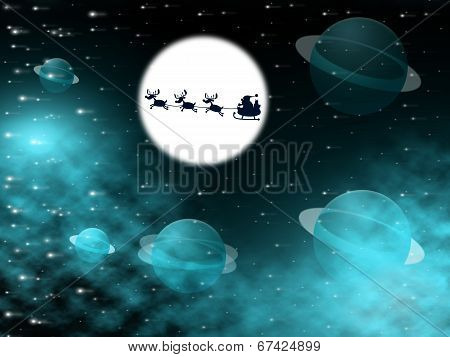 Xmas Tree Shows Full Moon And Christmastime