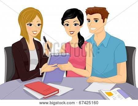 Illustration of a Couple Having a Discussion with a Wedding Planner