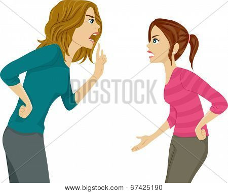 Illustration of a Mother and Daughter Arguing