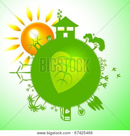 Eco Sun Indicates Earth Friendly And Eco-friendly