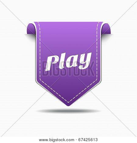 Play Purple Label Icon Vector Design