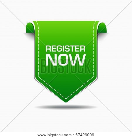 Register Now Green Label Icon Vector Design