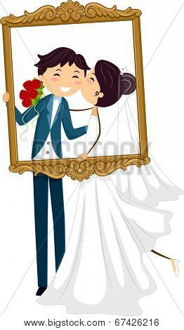 Illustration of a Pair of Newlyweds Kissing Behind a Frame