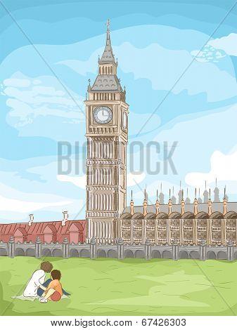 Sketchy Illustration of Big Ben in London