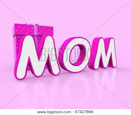 Mom Giftbox Shows Mother Occasion And Celebrate