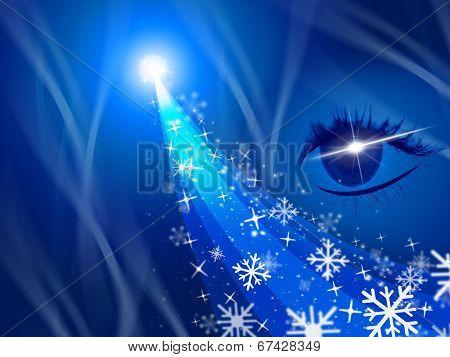 Glow Xmas Represents Light Burst And Celebration