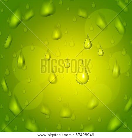 Rain Drop Represents Droplet Precipitate And Green