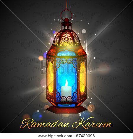 illustration of illuminated lamp on Ramadan Kareem (Generous Ramadan) background