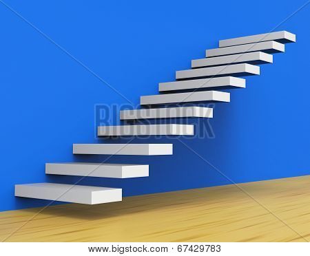 Growth Stairs Shows Staircase Upwards And Ascend