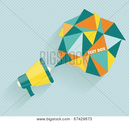 Flat Vector Icon Of Megaphone With Bubble Speech