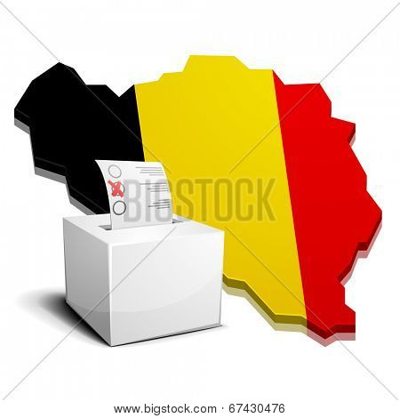 detailed illustration of a ballotbox in front of a 3D map of belgium with flag, eps10 vector