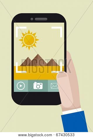 minimalistic illustration of hand holding a smartphone taking a photo, eps10 vector