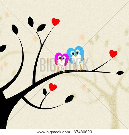 Tree Owls Indicates Heart Shapes And Branch