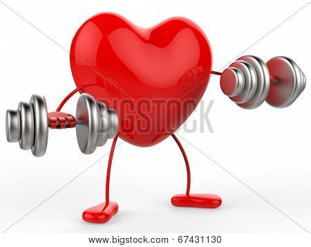 Weights Heart Shows Get Fit