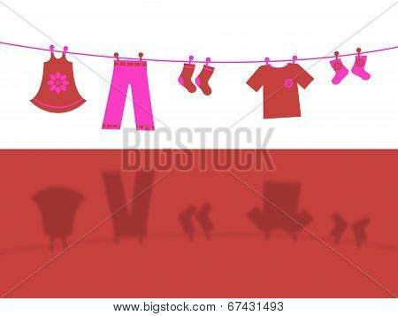 Clothes Line Represents Laundry Laundered And Outfit