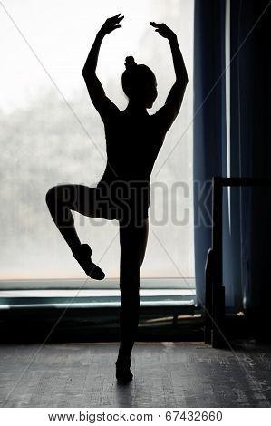 Ballerina silhouette dancing