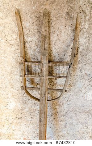 Old wood pitchfork