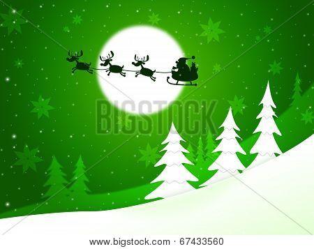 Xmas Tree Represents Santa Claus And Congratulation
