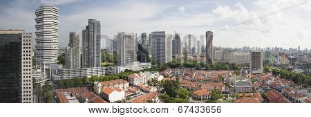 Kampong Glam In Singapore Aerial View Panorama