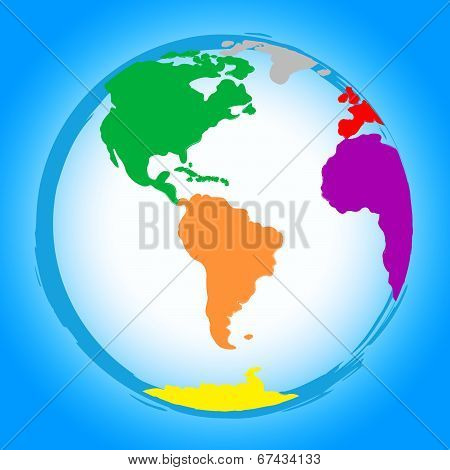 World Globe Represents Colors Earth And Colour