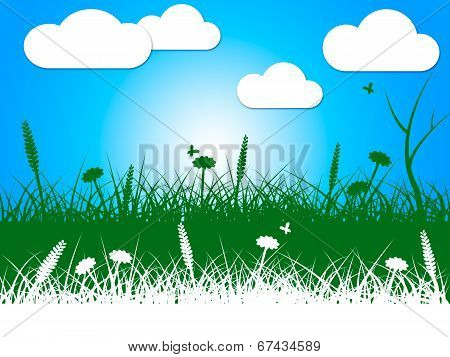 Landscape Nature Indicates Green Grass And Clothes-line