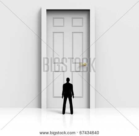 Door Mystery Shows Confused Wondering And Doorways