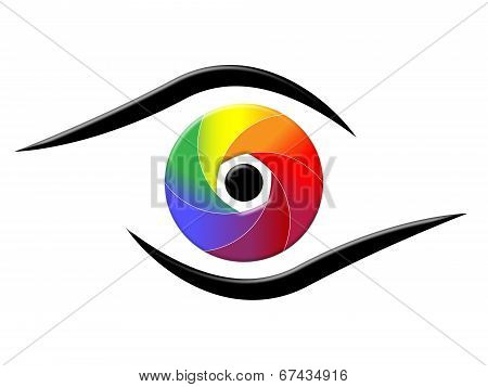 Spectrum Eye Shows Colorful Background And Chromatic