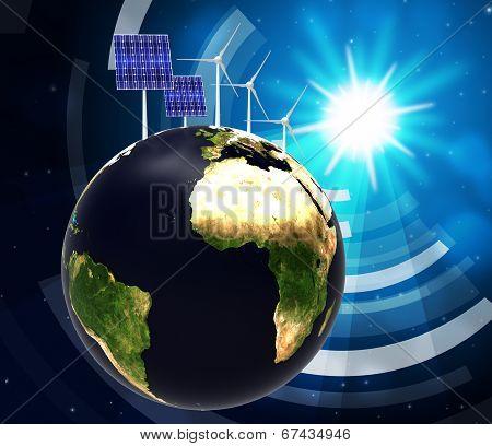 Solar Panel Indicates Alternative Energy And Globalise