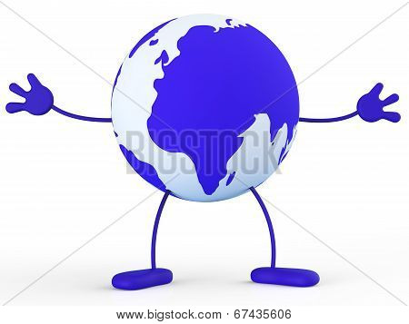 Character World Means Earth Globally And Worldly