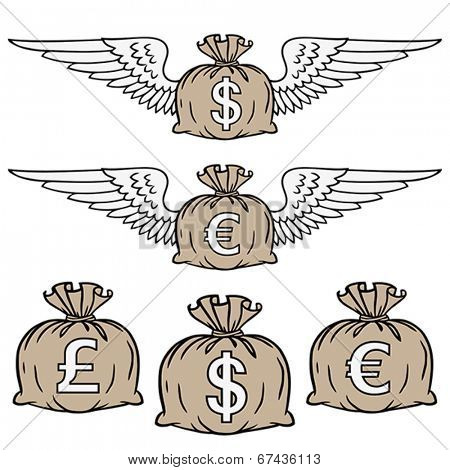 Stylized illustration of moneybags filled with different currencies. Vector format EPS 8, CMYK.