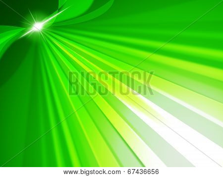 Green Rays Means Light Burst And Glow