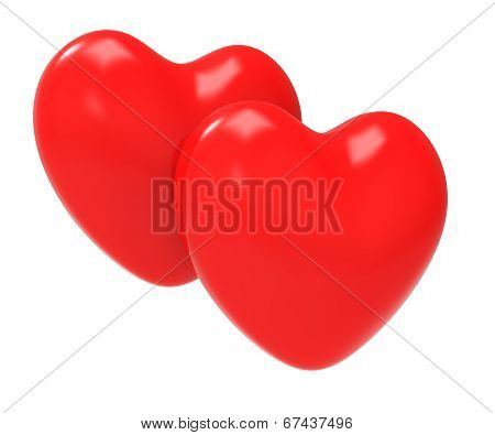 Hearts Love Shows Valentine Day And Affection