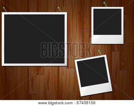 Photo Frames Shows Empty Space And Boarded