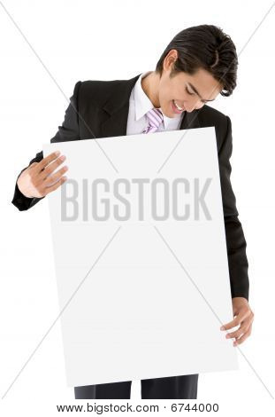 Business Man With A Banner