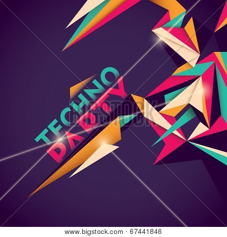 Illustrated techno party background. Vector illustration.