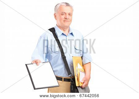 Mailman holding clipboard and bunch of envelopes isolated on white background