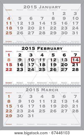 2015 february with red dating mark - current marked holiday is Valentine's Day - vector illustration