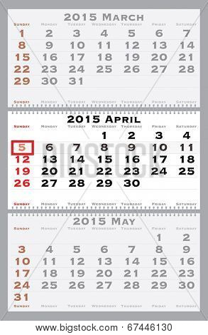 2015 april with red dating mark - current marked holiday is Easter - vector illustration