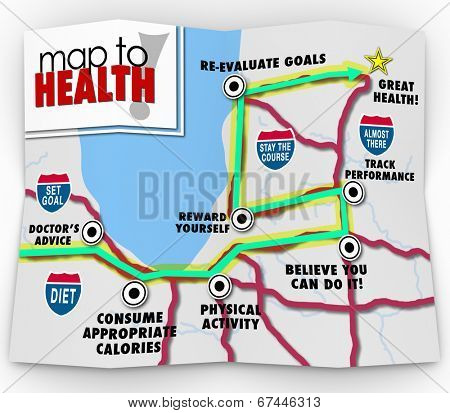 A road map to good health with a route marked by words doctor's advice, consumer appropriate calories