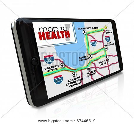 Map Health application, program software smart phone navigate way route healthy lifestyle