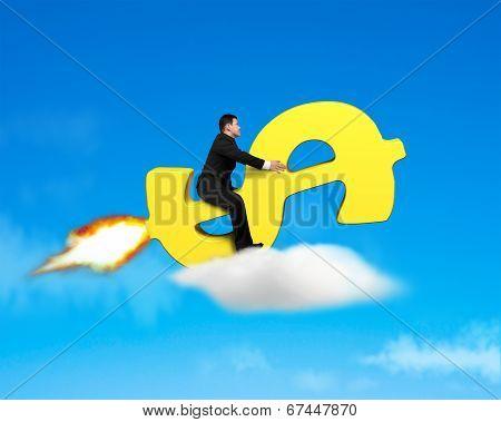 Riding On Money Symbol Rocket In Blue Sky