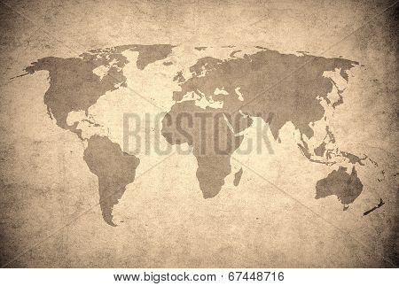 Grunge Map Of The World.
