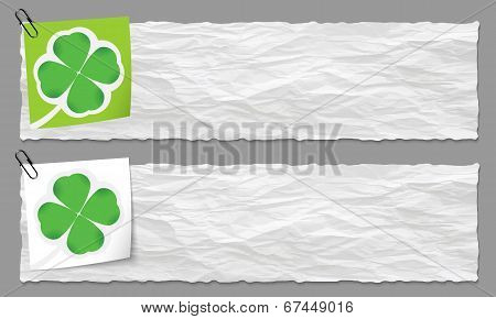 Set Of Two Banners With Crumpled Paper And Cloverleaf