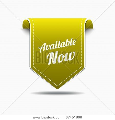 Available Now Yellow Label Icon Vector Design