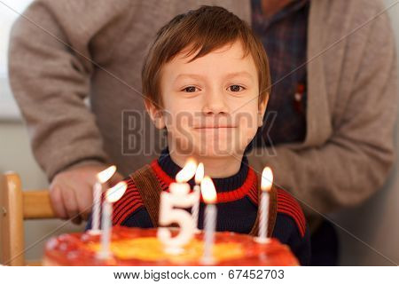 Little Kid Celebrate Birthday With Grandpa