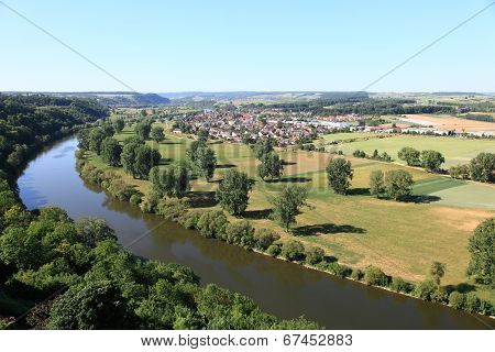 panoramic view of Neckar river in Germany