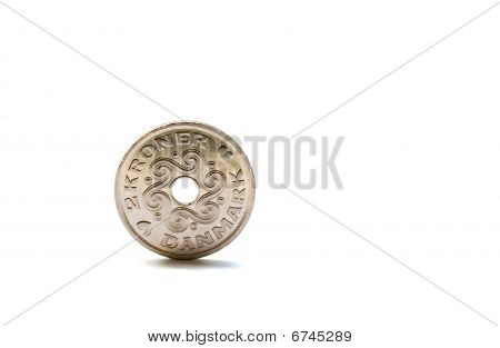 Single Two Danish Krones Coin Isolated On White Background