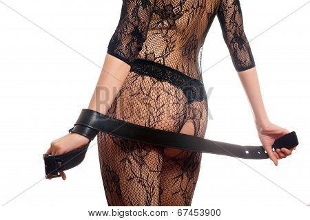 Woman Holding A Belt