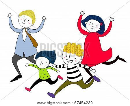 illustration of family running after each other