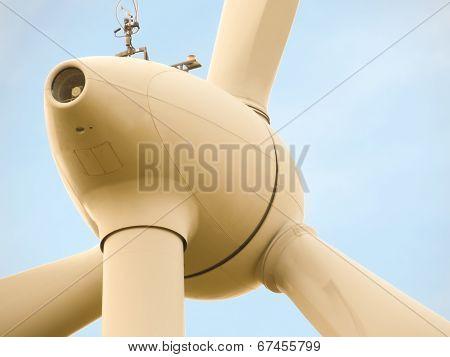 Part of windmill in blue sky